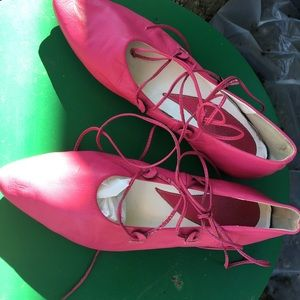 Shoes - Ballerina flats size 10 hot pink with laces